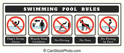 Swimming pool rules Board. Set of icons and symbol for pool