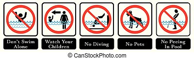 Swimming pool rules. Set of icons and symbol for pool