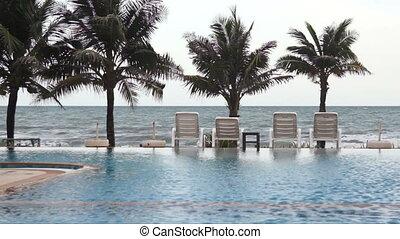 Swimming pool seaside of luxury.