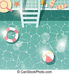 Swimming pool side, top view, summer time holiday vacation, clear water with beach items