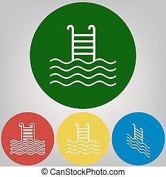 Swimming Pool sign. Vector. 4 white styles of icon at 4 colored circles on light gray background.
