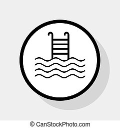 Swimming Pool Sign Vector Flat Black Icon In White Circle With Shadow At Gray