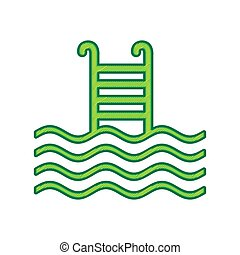 Swimming Pool sign. Vector. Lemon scribble icon on white background. Isolated