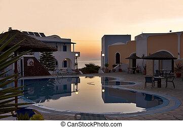 swimming pool  - sunrise over the swimming pool