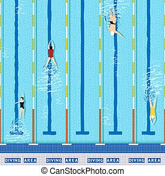 Swimming pool top view with several athlete silhouettes...
