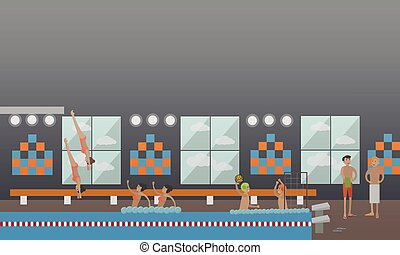 Swimming pool, water sports concept vector illustration in flat style