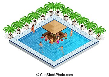 Swimming Pool with Bar Isometric Vector Illustration. young people swim in the pool, relax and drink cocktails at the bar.