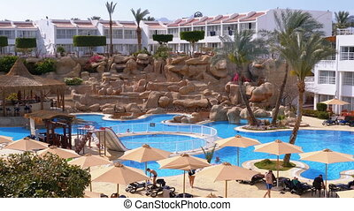 Swimming Pool with Blue Water in a Hotel at the Resort in Egypt
