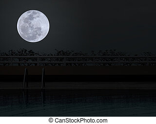 Swimming pool with full moon