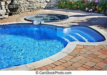 Swimming pool with hot tub - Outdoor inground residential...
