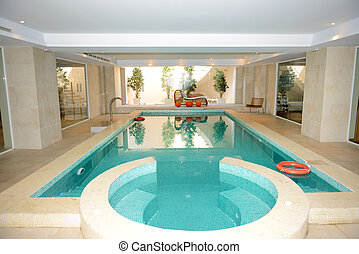 Swimming pool with jacuzzi in SPA at the luxury hotel, Peloponnes, Greece