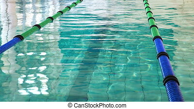 Swimming pool with lane markers in the leisure center