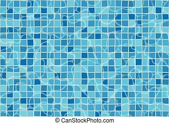 Swimming pool with mosaic tiles. Texture of water surface. Seamless pattern.