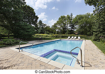 Swimming pool with sauna
