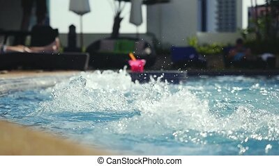 swimming pool with SPA. Relaxing in warm bubble bath in slow motion with changing focus. 1920x1080