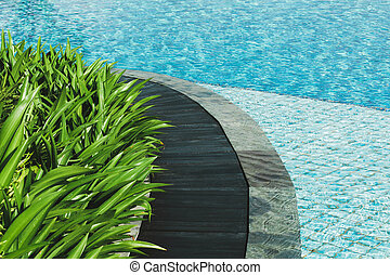 Swimming pool with wooden path way, stone tile, green leaves and clear water