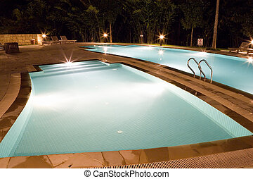 Swimming Pools at Night - Image of of swimming pools at...