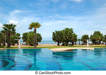 Swimming pools at the beach of luxury hotel, Pattaya, Thailand