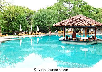 Swimming pool's bar at the luxury hotel, Bentota, Sri Lanka