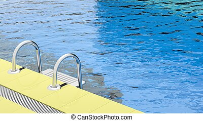 Swimming poolside with clear water and ladder