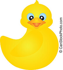 Swimming Rubber Ducky Illustration - Swimming Yellow Rubber...