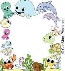 swimming sea life school or club poster