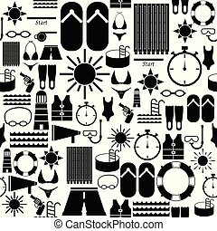 swimming seamless pattern background icon.