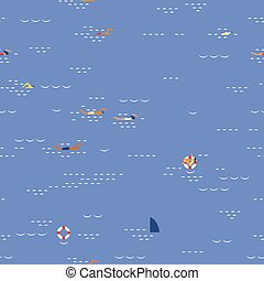 swimming seascape seamless pattern - People swimming in...