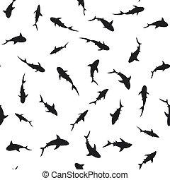 Swimming sharks seamless pattern