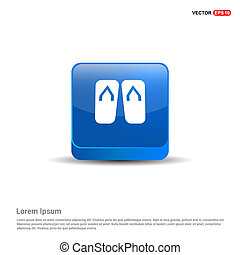 Swimming Slippers Icon - 3d Blue Button