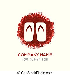 Swimming Slippers Icon - Red WaterColor Circle Splash