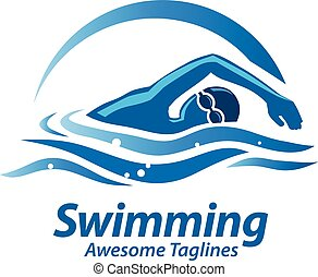 swimming sport logo - swimming sport figure with blue water...