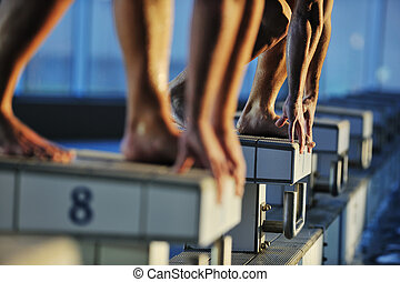 swimming start - start position race concept with fit ...