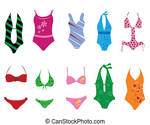 Swimming suits on the white background