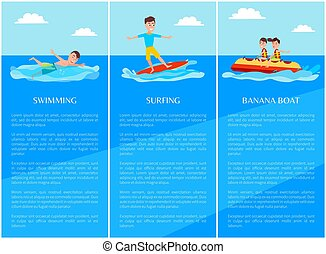 Swimming Surfing Collection Vector Illustration