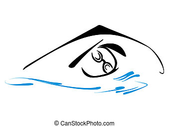 Swimming symbol - Sketch illustration of swimmer in water