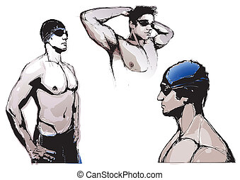 swimming trio - illustration of the swimmers