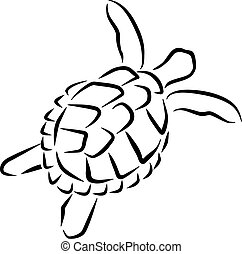 Swimming turtle caligraphy style