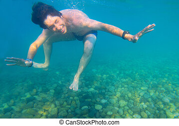 under the water in a clear sea