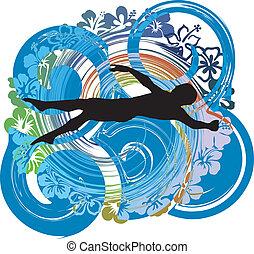 swimming., vektor, ábra, ember