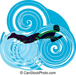 swimming., vektor, illustration, mand