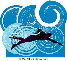 swimming., vettore, illustrazione, uomo