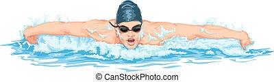 swimming., vettore, uomo