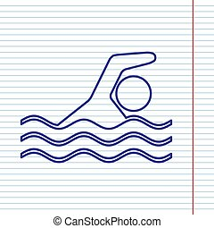 Swimming water sport sign. Vector. Navy line icon on notebook paper as background with red line for field.