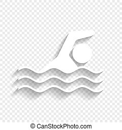 Swimming water sport sign. Vector. White icon with soft shadow on transparent background.