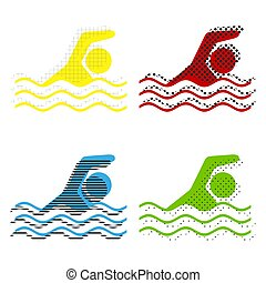 Swimming water sport sign. Vector. Yellow, red, blue, green icon