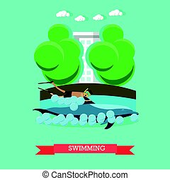 Swimming with dolphin vector illustration in flat style