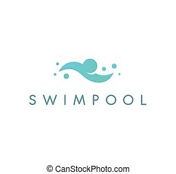 Swimpool logo vector logo. Swimming pool icon. Human is swimming, abstract blue illustration on white background.