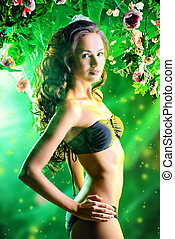 swimsuit - Beautiful brunette woman in bikini among tropical...