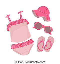 Swimsuit for baby girl.  Summer baby clothes.